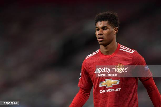 Marcus Rashford of Manchester United looks on during the UEFA Champions League Group H stage match between Manchester United and RB Leipzig at Old...