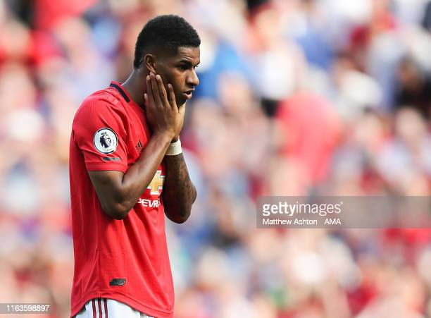 Marcus Rashford of Manchester United misses a second half penalty during the Premier League match between Manchester United and Crystal Palace at Old...