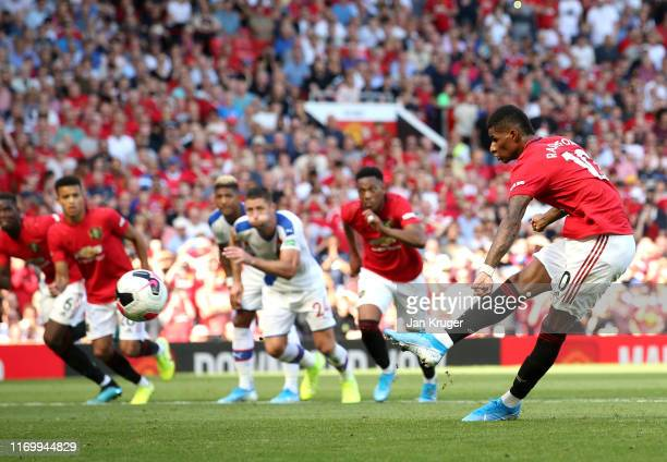 Marcus Rashford of Manchester United misses from the penalty spot during the Premier League match between Manchester United and Crystal Palace at Old...