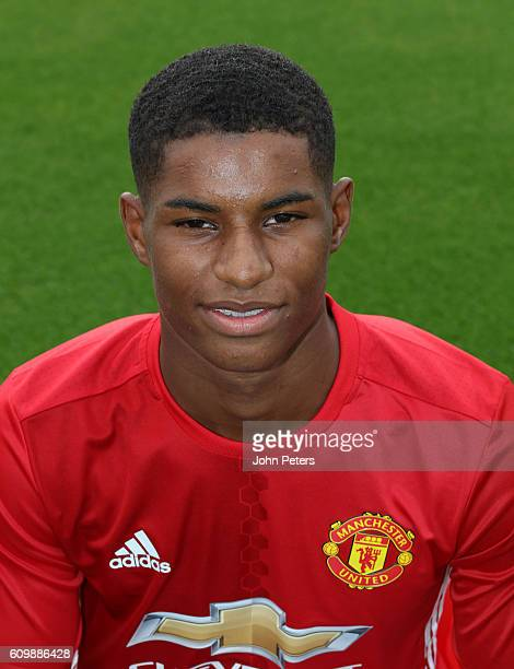 Marcus Rashford of Manchester United poses for a portrait at the Manchester United Official Photocall on September 19 2016 in Manchester England