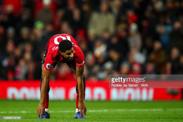 Marcus Rashford of Manchester United reacts during the Premier League match between Manchester United and Fulham FC at Old Trafford on December 8...