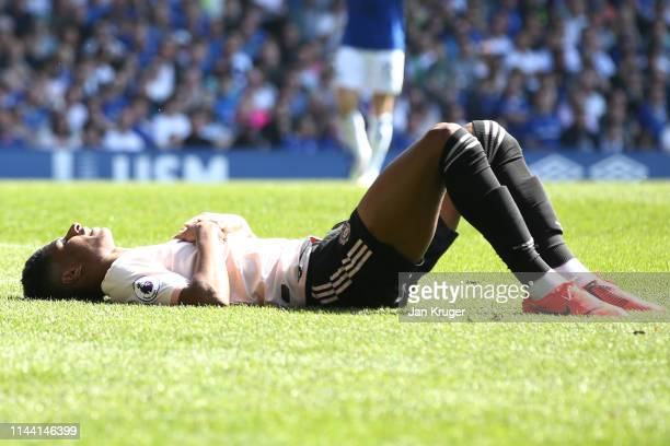 Marcus Rashford of Manchester United reacts during the Premier League match between Everton FC and Manchester United at Goodison Park on April 21...