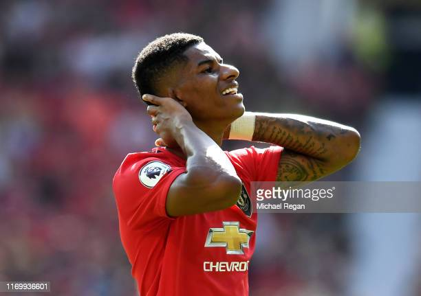Marcus Rashford of Manchester United reacts during the Premier League match between Manchester United and Crystal Palace at Old Trafford on August 24...