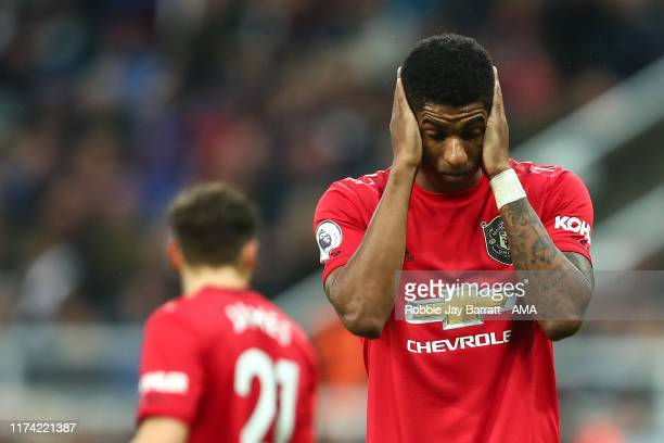 Marcus Rashford of Manchester United reacts during the Premier League match between Newcastle United and Manchester United at St James Park on...
