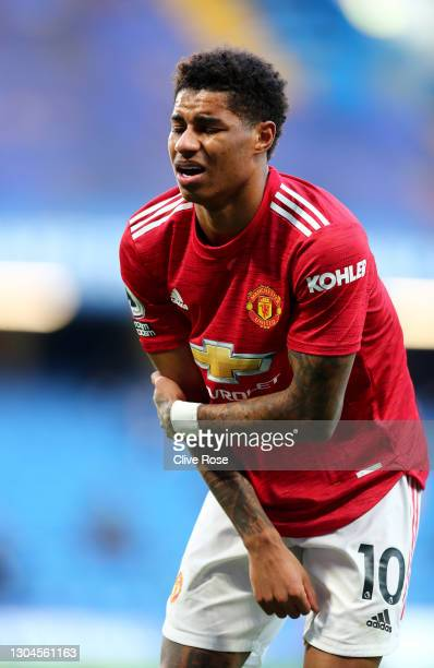 Marcus Rashford of Manchester United reacts during the Premier League match between Chelsea and Manchester United at Stamford Bridge on February 28,...