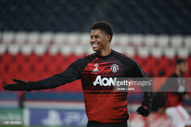 Marcus Rashford of Manchester United reacts during the UEFA Champions League Group H stage match between Paris SaintGermain and Manchester United at...
