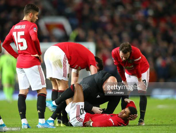 Marcus Rashford of Manchester United receives treatment during the FA Cup Third Round Replay match between Manchester United and Wolverhampton...