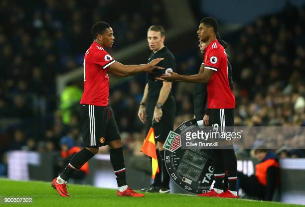 Marcus Rashford of Manchester United replaces Anthony Martial of Manchester United during the Premier League match between Everton and Manchester...