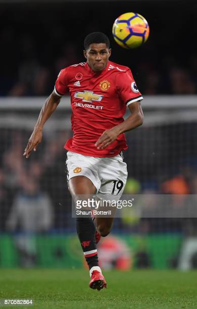 Marcus Rashford of Manchester United runs on to the ball during the Premier League match between Chelsea and Manchester United at Stamford Bridge on...