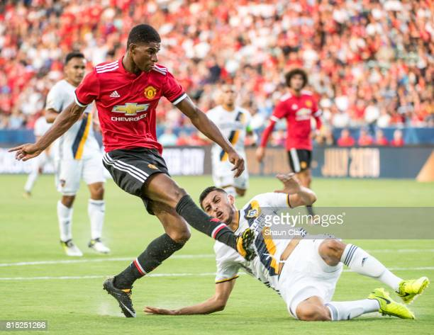 Marcus Rashford of Manchester United scores a goal during the Los Angeles Galaxy's friendly match against Manchester United at the StubHub Center on...