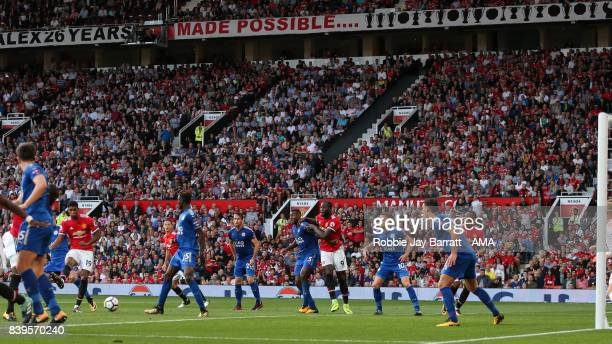 Marcus Rashford of Manchester United scores a goal to make it 20 during the Premier League match between Manchester United and Leicester City at Old...