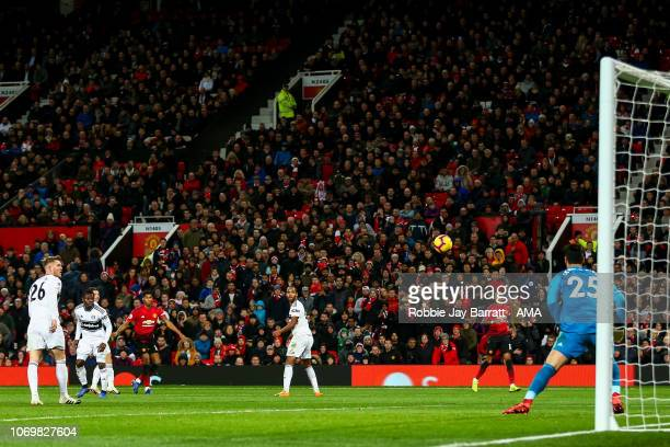 Marcus Rashford of Manchester United scores a goal to make it 41 during the Premier League match between Manchester United and Fulham FC at Old...
