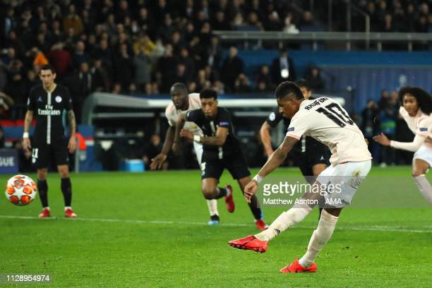 Marcus Rashford of Manchester United scores a goal to make the score 1-3 during the UEFA Champions League Round of 16 Second Leg match between Paris...
