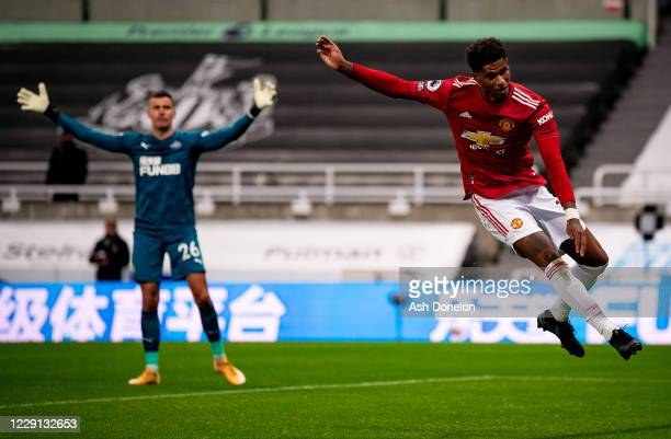 Marcus Rashford of Manchester United scores a goal to make the score 14 during the Premier League match between Newcastle United and Manchester...