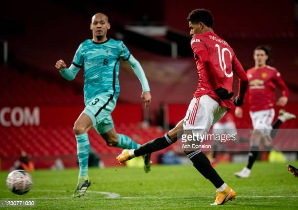 Marcus Rashford of Manchester United scores a goal to make the score 2-1 during the Emirates FA Cup Fourth Round match between Manchester United and...