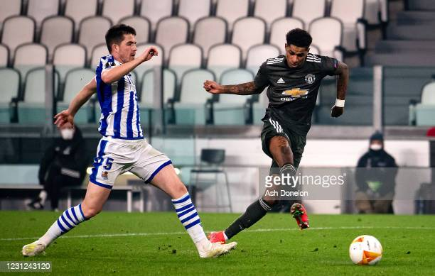 Marcus Rashford of Manchester United scores a goal to make the score 0-3 during the UEFA Europa League Round of 32 match between Real Sociedad and...