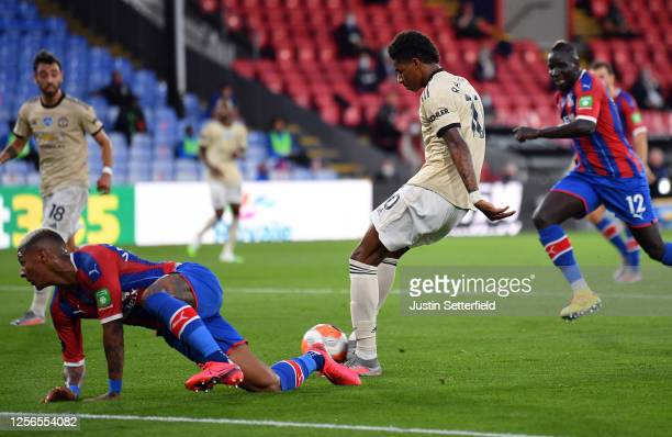 Marcus Rashford of Manchester United scores his sides first goal during the Premier League match between Crystal Palace and Manchester United at...