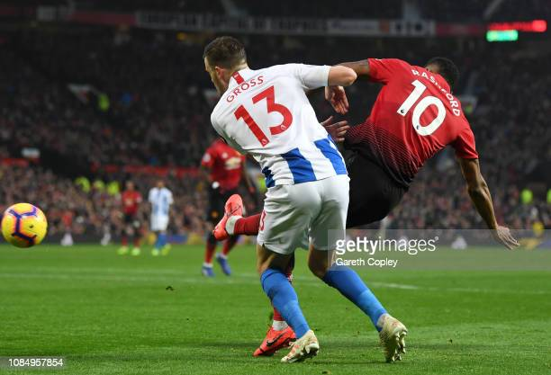 Marcus Rashford of Manchester United scores his sides second goal during the Premier League match between Manchester United and Brighton & Hove...