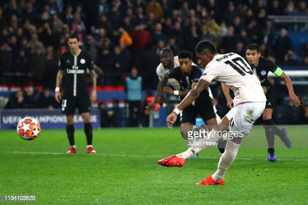 Marcus Rashford of Manchester United scores his sides third goal during the UEFA Champions League Round of 16 Second Leg match between Paris...