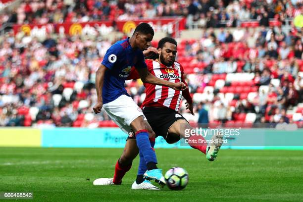 Marcus Rashford of Manchester United scores his side's third goal during the Premier League match between Sunderland and Manchester United at Stadium...