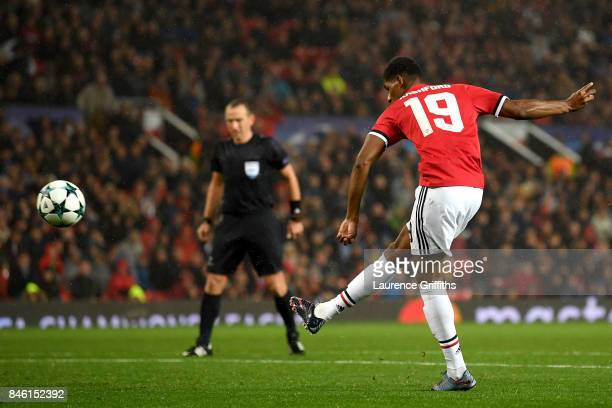 Marcus Rashford of Manchester United scores his sides third goal during the UEFA Champions League Group A match between Manchester United and FC...