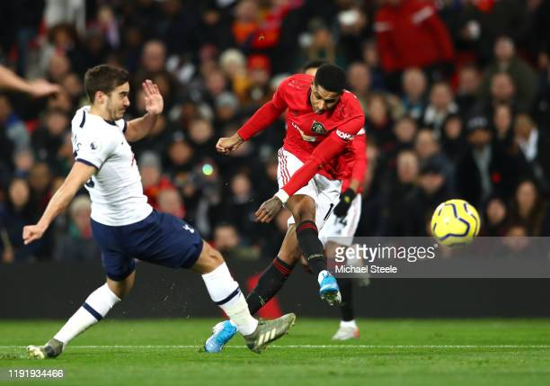 Marcus Rashford of Manchester United scores his team's first goal during the Premier League match between Manchester United and Tottenham Hotspur at...