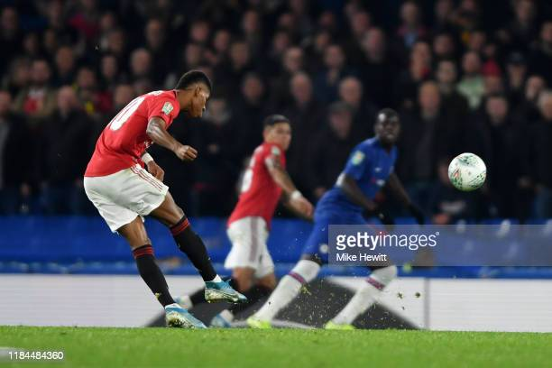 Marcus Rashford of Manchester United scores his team's second goal from a free kick during the Carabao Cup Round of 16 match between Chelsea and...