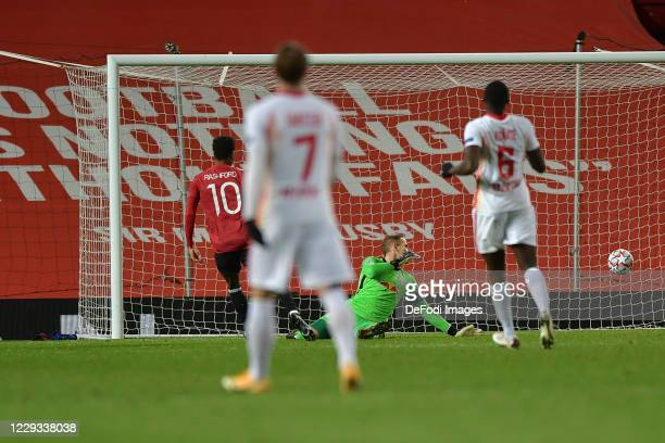Marcus Rashford of Manchester United scores his team's second goal during the UEFA Champions League Group H stage match between Manchester United and...