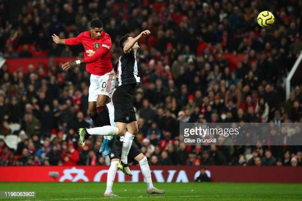 Marcus Rashford of Manchester United scores his team's third goal during the Premier League match between Manchester United and Newcastle United at...