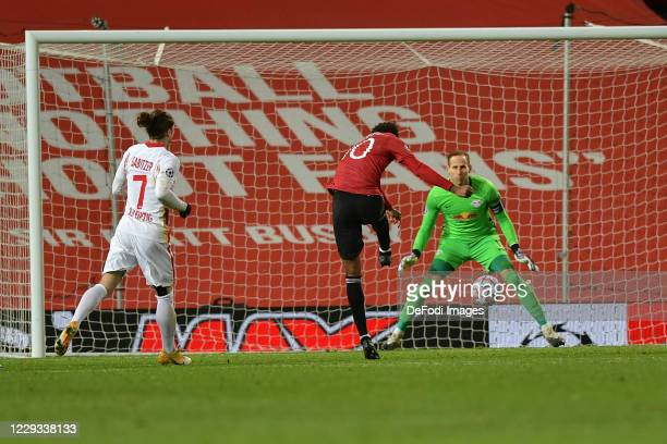 Marcus Rashford of Manchester United scores his team's third goal during the UEFA Champions League Group H stage match between Manchester United and...