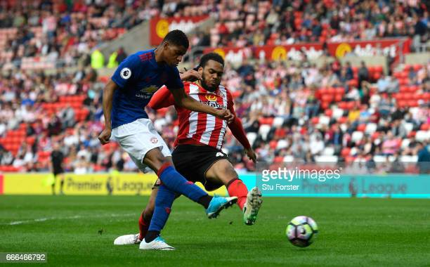 Marcus Rashford of Manchester United scores his team's third goal during the Premier League match between Sunderland and Manchester United at Stadium...
