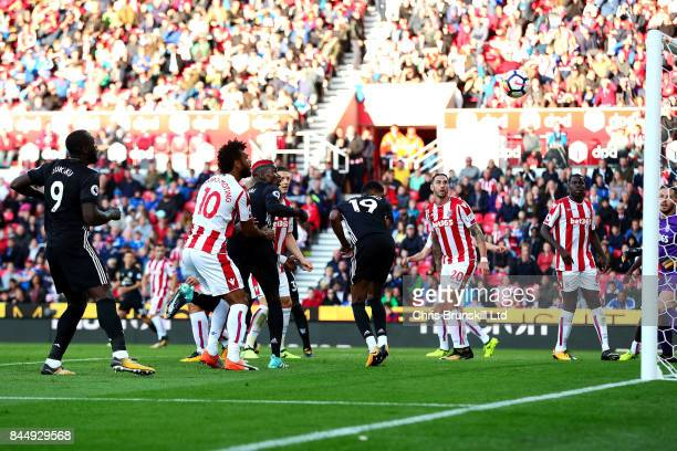 Marcus Rashford of Manchester United scores the equaliser during the Premier League match between Stoke City and Manchester United at Bet365 Stadium...