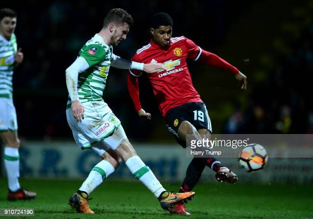 Marcus Rashford of Manchester United scores the first goal during The Emirates FA Cup Fourth Round match between Yeovil Town and Manchester United at...