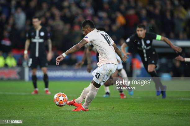 Marcus Rashford of Manchester United scores the third goal during the UEFA Champions League Round of 16 Second Leg match between Paris SaintGermain...