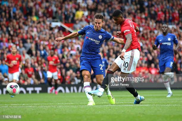 Marcus Rashford of Manchester United scores the third goal during the Premier League match between Manchester United and Chelsea FC at Old Trafford...