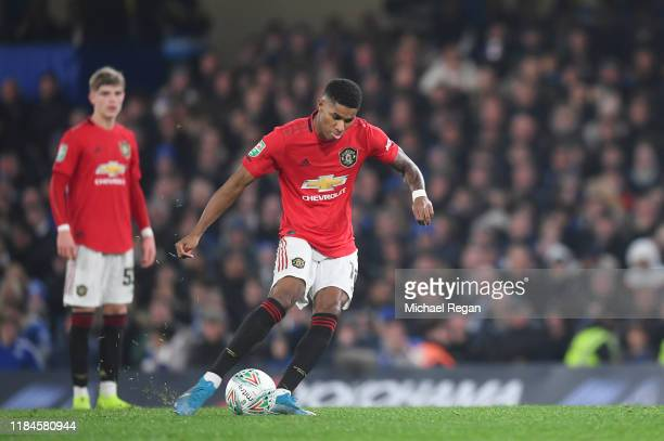 Marcus Rashford of Manchester United scores the winning goal to make it 21 during the Carabao Cup Round of 16 match between Chelsea and Manchester...