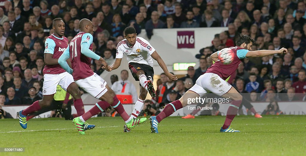 Marcus Rashford of Manchester United scores their first goal during the Emirates FA Cup Sixth Round replay match between West Ham United and Manchester United at Boleyn Ground on April 13, 2016 in London, England.