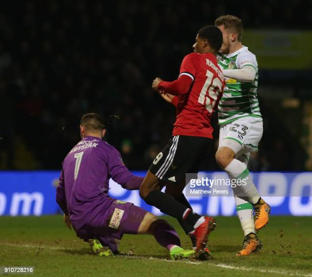 Marcus Rashford of Manchester United scores their first goal during the Emirates FA Cup Fourth Round match between Yeovil Town and Manchester United...