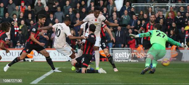 Marcus Rashford of Manchester United scores their second goal during the Premier League match between AFC Bournemouth and Manchester United at...