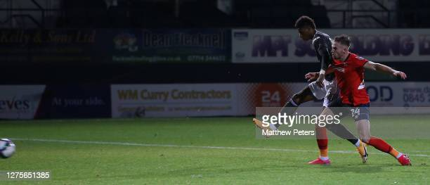 Marcus Rashford of Manchester United scores their second goal during the Carabao Cup Third Round match between Luton Town and Manchester United at...