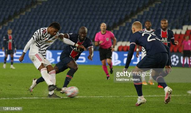 Marcus Rashford of Manchester United scores their second goal during the UEFA Champions League Group H stage match between Paris Saint-Germain and...