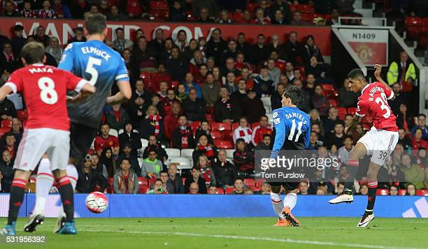 Marcus Rashford of Manchester United scores their second goal during the Barclays Premier League match between Manchester United and AFC Bournemouth...