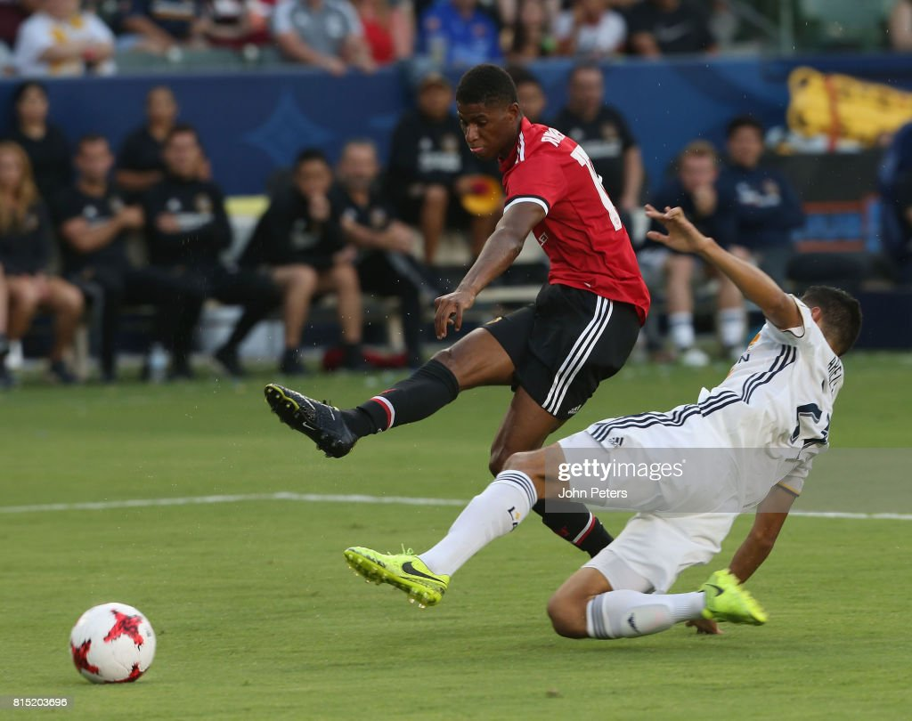 Marcus Rashford of Manchester United scores their second goal during the pre-season friendly match between LA Galaxy and Manchester United at StubHub Center on July 15, 2017 in Carson, California.