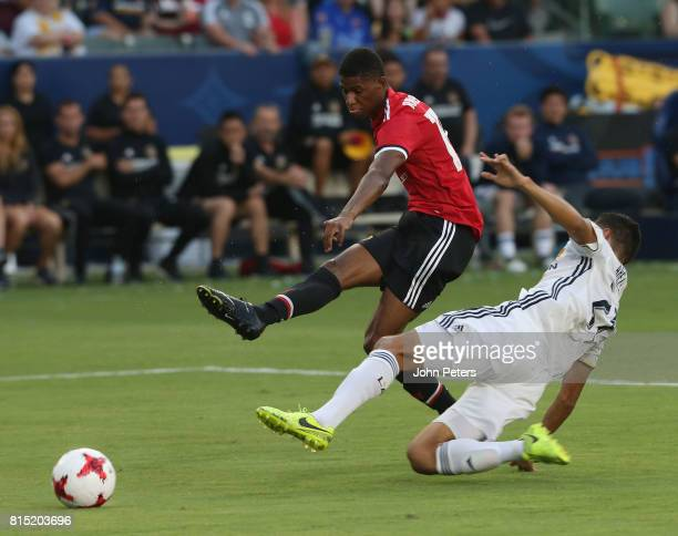 Marcus Rashford of Manchester United scores their second goal during the pre-season friendly match between LA Galaxy and Manchester United at StubHub...