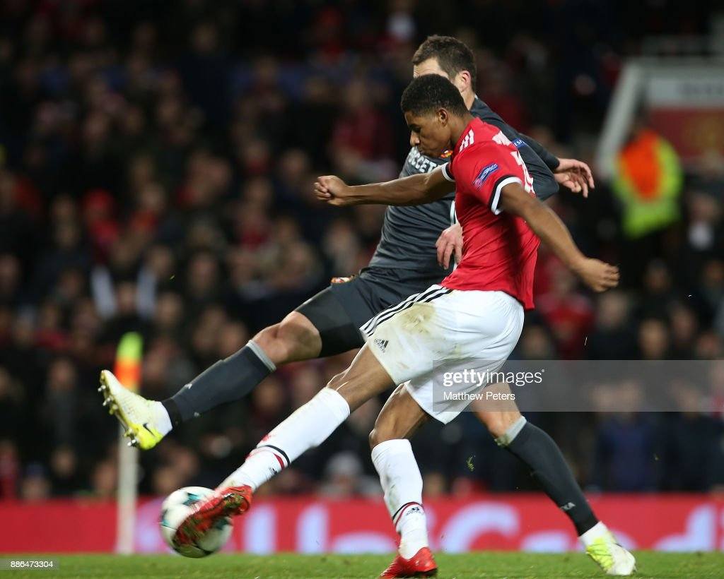 Marcus Rashford of Manchester United scores their second goal during the UEFA Champions League group A match between Manchester United and CSKA Moskva at Old Trafford on December 5, 2017 in Manchester, United Kingdom.