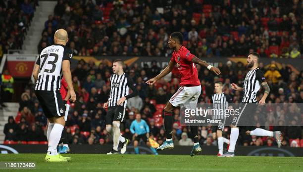 Marcus Rashford of Manchester United scores their third goal during the UEFA Europa League group L match between Manchester United and Partizan at...