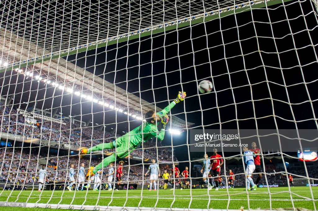 Marcus Rashford of Manchester United scoring goal during the Uefa Europa League, semi final first leg match, between Real Club Celta De Vigo and Manchester United FC at Estadio Balaidos on May 4, 2017 in Vigo, Spain.