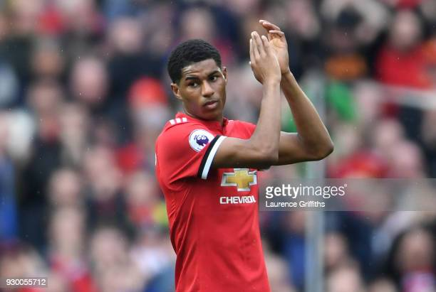Marcus Rashford of Manchester United shows appreciation to the fans as he is substituted during the Premier League match between Manchester United...