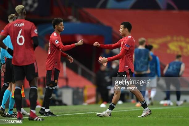 Marcus Rashford of Manchester United substitutes Mason Greenwood of Manchester United during the UEFA Champions League Group H stage match between...