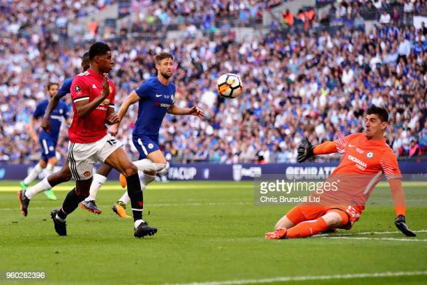 Marcus Rashford of Manchester United takes a shot towards Thibaut Courtois of Chelsea during the Emirates FA Cup Final between Chelsea and Manchester...